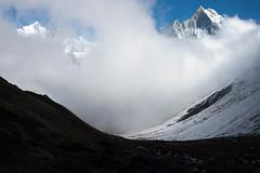 Fog rolls in (Pooja Pant) Tags: nepal mountains beautiful trek abc annapurna annapurnabasecamp macchapuchre