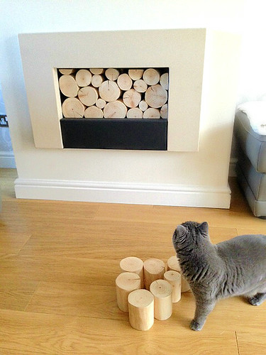 A Modern Empty Fireplace Filled With A Stack Of Natural, Decorative Logs  From The Log