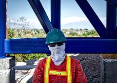 Construction worker with his protection from the dust and sun. It's been tough walking today, not too hot, but haven't gotten my rhythm back yet, it'll certainly be a great sleep tonight. #theworldwalk #travel #costarica