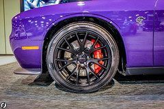 2016 Dodge Challenger SRT Hellcat Wheel (FitzJohnson) Tags: auto show camera people car wheel canon photography automobile nebraska wheels fast center headlights bumper vehicle dodge omaha grille rim challenger sportscar hellcat exige centurylink