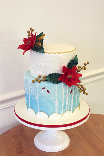 Winter Trees Wedding Cake with Sugar Poinsettias