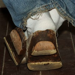 wellwornwoodenclogs09 (worndownclogs) Tags: wood blue white socks wooden well jeans worn clogs wellworn