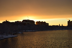 Building highlight (hansntareen) Tags: winter sunset snow sunshine glow clearingstorm