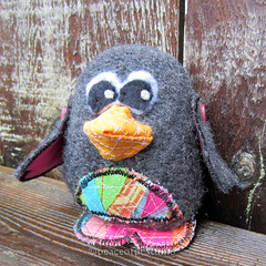 Felted Wool Penguin Softie (JoMo (peaceofpi)) Tags: canada bird wool animal penguin stuffed wings buttons sewing softie fabric artdoll patchwork softsculpture rawedge finecraft peaceofpi