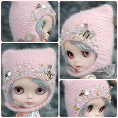The Folklore Kitty Helmet: Spring Sunrise (Euro_Trash) Tags: flowers white green bird wool felted grey buttons helmet knit kitty cage embroidered embellished eurotrash giftcertificate kittyhelmet neoblythe frenchpink blythefest folkloreribbon