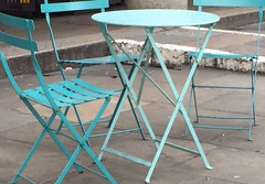 turquoise table and chairs (Hayashina) Tags: london turquoise tableandchairs