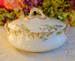 Limoges Porcelain Covered Serving Bowl ~ Morning Glory ~ Gold (Donna's Collectables) Tags: morning gold glory bowl covered porcelain serving ~ limoges
