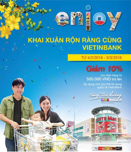 Giảm 10% cho chủ thẻ VietinBank mua sắm tại LOTTE Mart