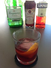 Negroni with Tanqueray London dry gin, Campari, Maurin sweet vermouth #cocktail #cocktails #craftcocktails #negroni #gin #campari (*FrogPrincesse*) Tags: cocktail cocktails gin maurin campari negroni sweetvermouth craftcocktails