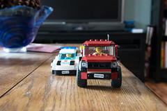 Table Top Chase (Halifax Jones) Tags: macro car truck table lego cop robber