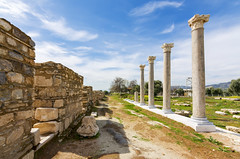 Tralleis Ancient City (Nejdet Duzen) Tags: old city travel blue sky white building green history tourism stone architecture vintage turkey outdoors greek ancient gate roman antique famous ruin culture architectural historical column past archeology byzantine anatolia trelles aydin seyahat tralleis