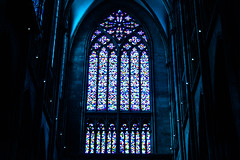 Cathedral, Cologne (RDCNN) Tags: travel blue light church glass lines architecture modern germany design colours graphic cathedral cologne indoor stained
