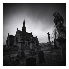 In the midst of life we are in death etc (Malajusted1) Tags: bw cemetery graveyard angel death monotone lancashire christian churchyard gravestones colne