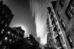 chelsea, NYC (petespande) Tags: nyc newyorkcity blackandwhite bw brick architecture clouds buildings nikon chelsea streetphotography 20mm nikkor nikond750