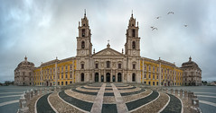 Epicentre of culture (Pietro Faccioli) Tags: windows winter mist portugal church architecture clouds doors afternoon cloudy outdoor perspective culture royal palace symmetry belfry national baroque convent nacional neoclassical palcio pietro palacio mafra faccioli pietrofaccioli