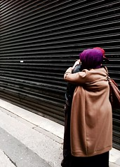 Comfort (GrandWaz) Tags: street people scarf hug purple 50club