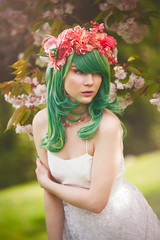 Eloisa Eithne (Sarah F. Bowman) Tags: wedding portrait green floral sarah vancouver pose hair cherry photography emily model dress blossom makeup nanaimo portraiture ethereal crown soto whimsical bowman