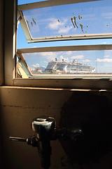 2 cruise ships as viewed from a urinal (Dieter Drescher) Tags: windows 2 two port freshair harbor pier view harbour fenster cruiseship hafen urinal cruiser zwei kreuzfahrtschiff ausblick skylightwindow frischluft dieterdrescher klappfenster tophungwindow
