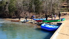 Preparing to Launch - Canoes, Kayaks, and Raft at Ponca Access to Buffalo River, Northwest Arkansas (danjdavis) Tags: kayak canoe raft buffalonationalriver buffaloriver poncaaccess