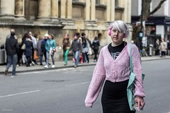 Pink Headphones (Silver Machine) Tags: street pink girl walking glasses student outdoor candid streetphotography streetportrait oxford headphones pinkhair canoneos oxfordshire canon600d canonef50mmf18stm