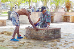 A game of chess (boeckli) Tags: urban game watercolor colorful outdoor chess textures watercolour newcaledonia farbig bunt spiel noumea schach texturen wasserfarben