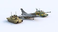 F-24 with M1A2 and Challenger 2 (TheRookieBuilder) Tags: render aircraft m1a2 abrams sidebyside tracked challenger2 legodigitaldesigner mainbattletanks bluerender