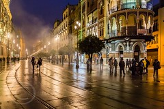 Seville Jan 2016 (12) 057 - Wet and dark in the city (Mark Schofield @ JB Schofield) Tags: santa plaza bridge parque people streets wet public caf rio architecture bar night umbrella reflections river dark ceramic puente graffiti la los spain guadalquivir san expo cathedral maria candid transport iglesia tram seville espana cruz tiles parasol universidad alcazar pavilion oranges harp andalusia cobbles encarnacion luisa giralda isla embankment metropol arenal justa triana macarena remedios cartuja alamillo bernado chapina