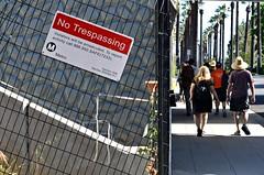 Non-Trespassers (Pedestrian Photographer) Tags: beer sign walking gold drive metro walk no palm line sidewalk trespass pedestrians april monrovia crawl apr ribbet azusa 2016 brudge dsc1086b trespappsing
