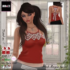 Rayna top red (Dalriada Delwood) Tags: back discount sale lace top garage crochet fair event bow 50 halter rayna mooh
