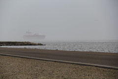 Coming Out of the Fog (West Beach Sunset) Tags: winter water weather bay ship texas tide foggy overcast texascity dike shipchannel canoncamera texascitydike galvestoncounty baywaters cd016