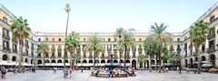 Barcelona | Placa Reial (PanoramaStreetline.com) Tags: barcelona plaza travel people panorama tourism fountain architecture palms square real three spain europe mediterranean tourists espana catalunya placa graces rambla reial