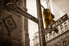New York_Broadway-Wall Street_1.jpg (Stang-33) Tags: road christmas street new york city nyc travel vacation urban usa white black tourism church sign horizontal wall sepia downtown close place manhattan district united famous stock broadway landmark location stocks direction trading points destination intersection heroes states portfolio capitalism laterne financial ampel exchange direct wealth hochhaus uhr trader indicate