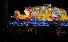 adventures of the Monkey King (SM Tham) Tags: trees decorations sea mountain rooftop clouds temple town waterfall display buddhist chinese silhouettes chinesenewyear malaysia lanterns pavilion cave nightscene selangor monkeyking sunwukong jenjarom foguangshandongzen