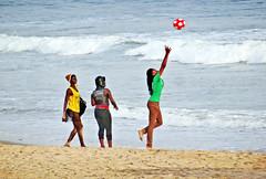 Ghana, Accra Bay, girls playing at the beach #G (bilwander) Tags: ocean africa travel west beach bay coast african atlantic ghana solo accra blackwomen bilwander sexyteengirls g