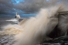 Jim RIP (Brian D 1960) Tags: ocean sea wild sky lighthouse storm water weather clouds danger death graffiti scotland pier nikon exposure waves slow wind harbour adventure aberdeen northsea hazard scrawls
