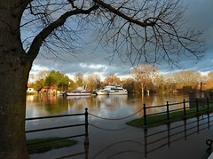 Upton Floods. (jenichesney57) Tags: blue light sky tree green water clouds fence buildings reflections flood riversevern worcestershire upton pleasureboat flickrclickx