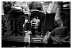 Thinking it over (markal) Tags: japan  yamanote jreast   ikebukurostation canonpowershotg10 japaninblackandwhite