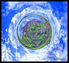 Amieira III [Planet] (Feiersinger) Tags: world blue sky panorama lake portugal nature azul clouds canon river landscape lago do little dam pano natureza scene cu projection barragem planet nuvens wee 8mm redondo alentejo mundo 360x180 aldeia planeta alqueva 360 stereographic portel samyang amieira 700d