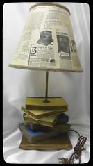 Repurposed books into a table lamp (Jazzie Menagerie) Tags: trim tablelamp desklamp decoupage lampstand antiquebooks repurposedlighting jazziemenagerie antiqueephemeramagazineadvertisements