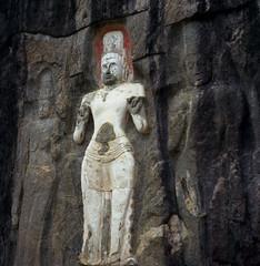Buduruwagala - Bodhisattva (spcycuttlefish) Tags: vacation analog buddha srilanka pali buduruwagala standingbuddha mahayana theravada epsonscan bramin ektar100 buduruvagala srilankaonfilm