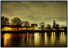 Thames Quite Waters (NILOFIDO) Tags: longexposure blue light sunset red urban orange house black detail reflection london art texture water colors yellow thames skyline night landscape gold nikon shadows grunge nightsky hdr chiswick nisi selectivecoloring d3x nd5 nilofido nilofidoc