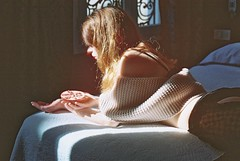 Bedroom  Stories . (Violette Nell) Tags: expiredfilm violettenell intimacy vintage mood naturallight youth dreamy ethereal body analog 35mmcolorfilm filmphoto portrait portraitargentique intimité bedroomstories softskin melancholy nostalgia dailylife atmosphere lumièrenaturelle girl feelings portraiture aesthetic model