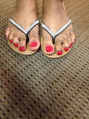 Revlon Roulette Rush nail polish (hyellow) Tags: red cute feet silver toes long pretty unique polish nails flip flops revlon