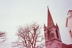 easkey, october 2014 (kodacolorframes) Tags: travel ireland film church europe steeple expired yashicat4 ferraniasolarisfgplus100