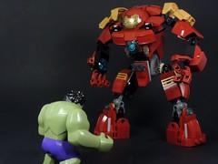 Hulk vs Hulkbuster (MrKjito) Tags: man comics iron comic lego bruce banner tony age hulk marvel stark universe cinematic armour avengers ultron hulkbuster