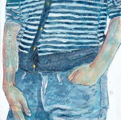 # 68 (08-03-2016) (h e r m a n) Tags: blue illustration blauw drawing zwembad cardboard herman trousers carton illustratie bock karton oosterhout tekening broek 10x10cm denimn tegeltje 3651tekenevent