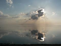 sky and water at Dollart Bay (achatphoenix) Tags: sky reflection water clouds river bay aqua wasser tide himmel wolken east cielo ems spiegelung dollart dollard wattenmeer waddensea frisia meerbusen