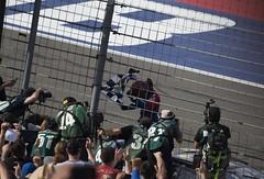 Jimmie Johnson accepts the checkered flag at Fontana (alsib) Tags: nascar fontana winning checkeredflag jimmiejohnson
