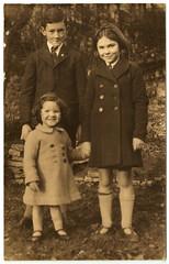 Dad in the Garden in 1945 (pepandtim) Tags: old boy sisters garden early dad december postcard scout nostalgia badge nostalgic 1945 lapel 26dad65