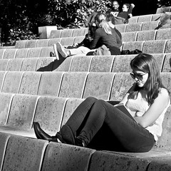 Reading at the Park (pedrosimoes7) Tags: blackandwhite bw portugal sunglasses reading blackwhite reader lisbon candid cc creativecommons lecteur lendo leitor gentedeportugal girlreading lisant streetpassionaward blackwhitepassionaward caloustegulbenkianpark absorsed